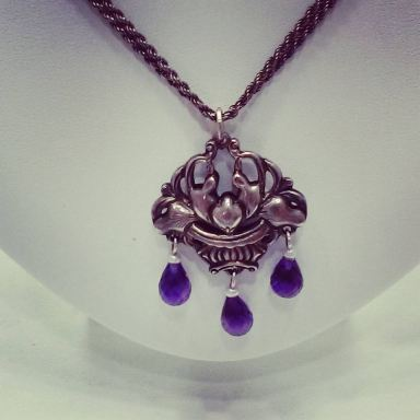 Silver necklace set with amethyst,circa 1930