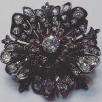 Silver pin set with diamonds Circa 1870