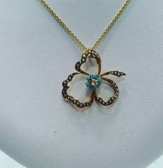 14Kt yellow gold necklace set with diamonds seed pearls and turquoise.circa 1920
