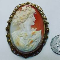14Kt yellow gold cameo pin
