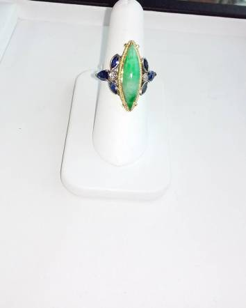 24Kt gold and silver set with jade diamond and sapphire