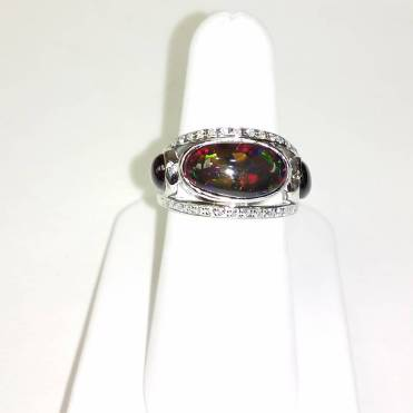 14Kt gold set with diamonds,black opel,and black star sapphire