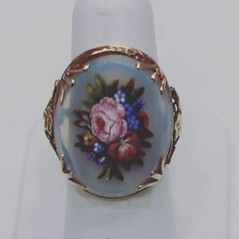 Art nouveau 14kt yellow gold ring,micro mosaic in blue agate