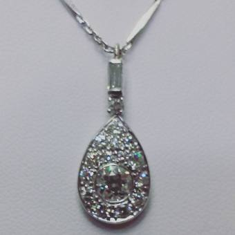 Platinum art deco set with diamonds