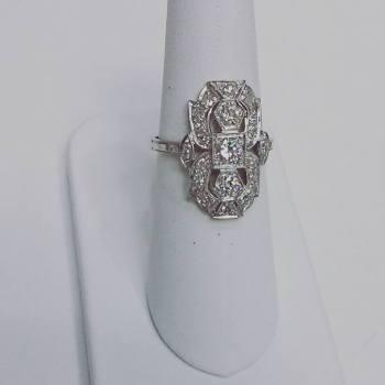 Platinum ring set with diamonds