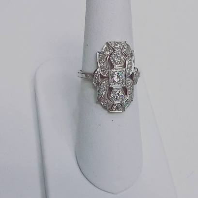 Platinum ring set with diamonds