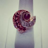 14kt pink and white gold set with diamonds and rubies. Circa 1940