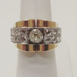 Platinum and 18kt yellow gold set with old cut diamond and rose cut diamonds. Circa 1880