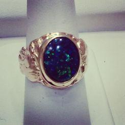 14Kt yellow gold art nouveau set with black opal