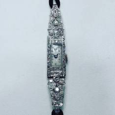 Art deco watch platinum set with diamonds