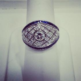 Platinum ring set with sapphires and diamonds.Circa 1940
