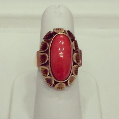 14Kt pink and yellow gold set with red coral