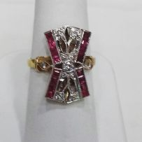 14Kt white and yellow gold ring set with rubies and diamonds,circa 1940