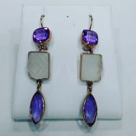 14Kt yellow gold earrings set with amethyst and crystal