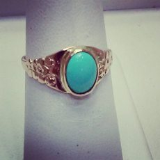 14Kt yellow gold art nouveau set with turquoise