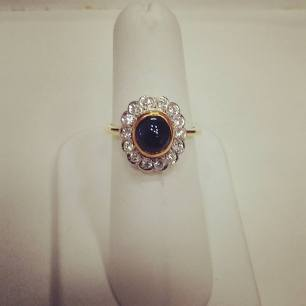 14Kt white and yellow gold set with cab sapphire and diamonds,circa 1940
