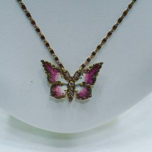 14Kt yellow gold necklace set with diamonds and enamel,circa 1920