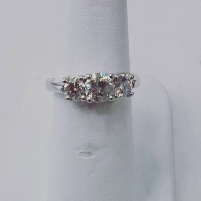 14Kt white gold engagement 3 stone ring set with diamonds 1.40 ct