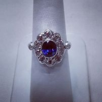 Platinum ring set with ovel blue purple sapphire and diamonds,art deco