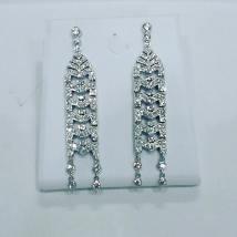 Platinum earrings set with diamonds