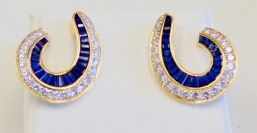 18kt yellow gold french made earrings circa 1960 set with diamonds and sapphires