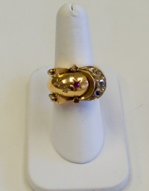 Platinum and 18kt yellow gold ring set with old cut diamond and rose cut diamonds circa 1880