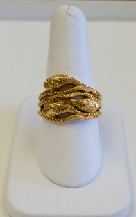 14kt yellow gold art nouveau 3 snakes ring