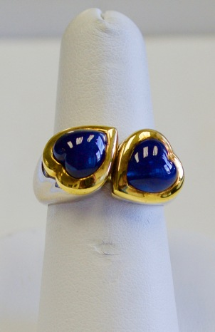 18kt white andd yellow gold ring set with 5ct of sapphires